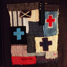 Abstract running stitch and cross fabric collage : Constanza