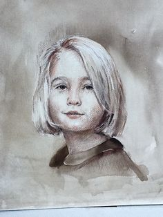 Using watercolor, pastel, charcoal to create a monochromatic portrait sketch.  GayleHurley.com