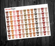 Fall Coffee Fall Stickers Coffee Stickers Fall by RedLabelDesigns