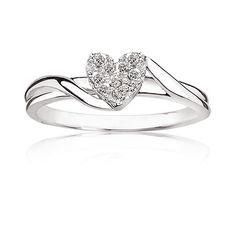 Heart Diamond Ring in Sterling Silver