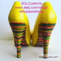 "JCo.Customs by Kitty Paws Shoes Women's Yellow Multi-Color High Medium 6"" Pumps  