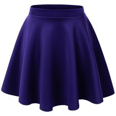 Lock and Love Womens Basic Versatile Stretchy Flared Skater Skirt (£7.71) ❤ liked on Polyvore featuring skirts, bottoms, faldas, flared hem skirt, blue skirt, blue skater skirt, circle skirt and stretchy skirt