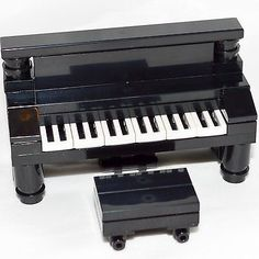 LEGO-Furniture-Black-Piano-with-Bench-Complete-Set-w-Parts-Instructions