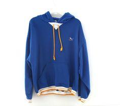 Vintage 80s Hoodie hooded sweatshirt puma blue by 2artists216
