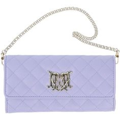 Love Moschino Wallet ($44) ❤ liked on Polyvore featuring bags, wallets, clutches, moschino, purple, lilac, purple bags, lilac bag, love moschino bags and love moschino wallet