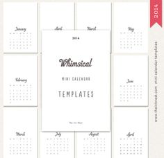 Printable Calendar 2014 Templates - for commercial and personal use - DIY on Etsy, $11.90