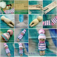 Znalezione obrazy dla zapytania kaszka z mlekiem muc muc dollEasy Sock Doll pattern and tutorialsock doll with hat, similar, perhaps easier?How to Make a Sock Doll In the wee hours i am soo doing this! Sock Crafts, Fabric Crafts, Sewing Crafts, Sewing Projects, Sewing Diy, Free Sewing, Sock Toys, Sock Animals, Sock Stuffed Animals