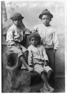 Three little boys, ca. 1899  W.E.B. Du Bois, collector  Daniel Murray Collection, Library of Congress  [Part of the Du Bois albums of photographs of African Americans in Georgia exhibited at the Paris Exposition Universelle in 1900]