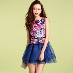 Blooming Floral Print Sleeveless Flare Dress Tiered Skirt
