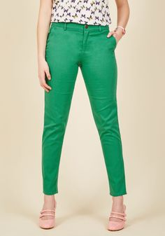 Ease of Versatility Pants in Clover. What should you pair with your fave top? #green #modcloth