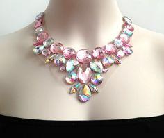 aurora+borealis+and+pink+rhinestone+bib+necklace+by+BienBijou,+$28.00