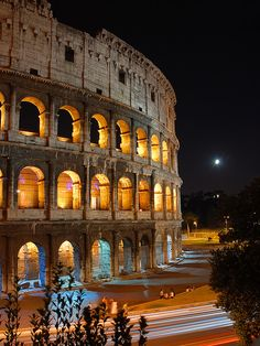 The Colosseum at Night  Rome (Italy) Rome is a lovely  memorable  Historical place to visit!  ENJOY!