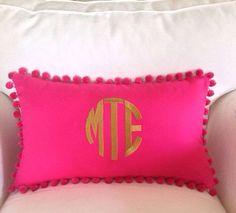 monogram pom pillow