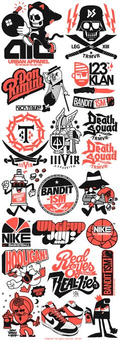 123klan Logos. Really really awesome oldschool 70's cartoon style ALA School House ROck