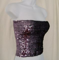 17d648c2f4 Vintage 70's OFFSPRING Disco Charcoal Silver Sequins Tube Top or Mini Skirt  One Size Fits All