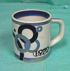 SOLD...:) Royal Copenhagen Danish Fajance Denmark Small Annual Coffee Cup Mug 1972 VTG