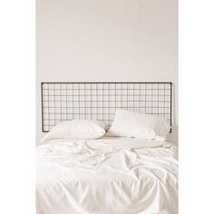 Grid Metal Headboard ($69) ❤ liked on Polyvore featuring home, furniture, beds, metal head boards, hardware furniture, mod furniture, modern furniture and modern headboards