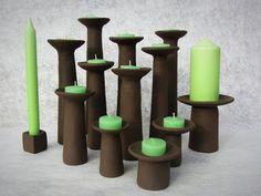 "Candle sticks. ""Fungi"" series (brown clay). Hand built earthenware ceramics by Pottery Studio Saskia Lauth / France. www.saskia-lauth.com"