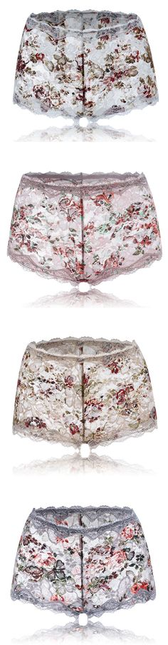 $ 7.78 Sexy Seamless Breathable Lace Floral Panties Abdomen Control Boyshorts For Women
