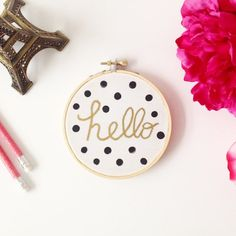 Hello and polka dots hoop art with painted gold frame by EmilyAli, $20.00