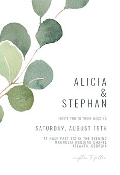 Eucalyptus leaves - Wedding Invitation #invitations #printable #diy #template #wedding Dinner Party Invitations, Free Wedding Invitations, Engagement Party Invitations, Save The Date Invitations, Save The Date Cards, Bridal Shower Invitations, Christening Invitations, Event Invitation Templates, Save The Date Online