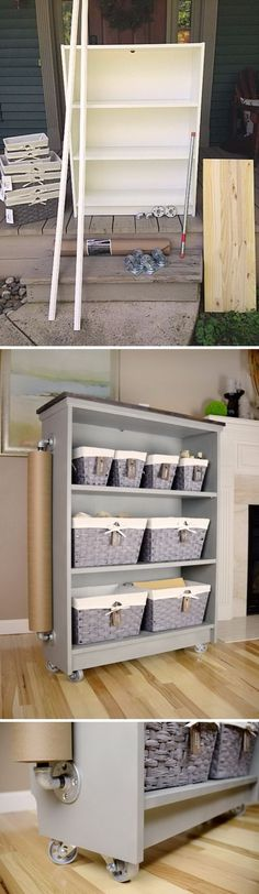 Ikea Billy Bookcase Turned Rolling Craft Cart.