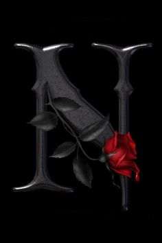 """Letter art with rose """"N"""" Alphabet Wallpaper, Name Wallpaper, Love Quotes Wallpaper, Phone Screen Wallpaper, Live Wallpaper Iphone, Wallpaper Gallery, Cellphone Wallpaper, Wallpaper Backgrounds, Gothic Wallpaper"""