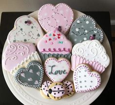 Decorated Valentines Day Cookies- Hearts and Cupcakes for the Lovebug in your life :). $42.00, via Etsy.
