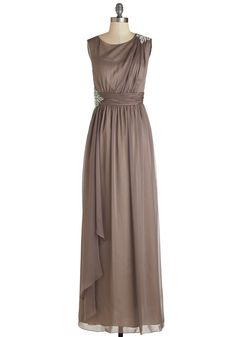 Bedraped in Beauty Dress - Solid, Rhinestones, Special Occasion, Wedding, Bridesmaid, Maxi, Sleeveless, Woven, Best, Tan, Long