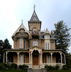 Victorian Gothic Revival moving towards the Second Empire Style. Victorian Architecture, Beautiful Architecture, Beautiful Buildings, Architecture Details, Beautiful Homes, Victorian Style Homes, Victorian Gothic, Abandoned Houses, Old Houses
