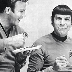 William Shatner and Leonard Nimoy eating pie on the set of Star Trek, 1968. °