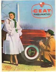 PUBBLICITA 1952 AUTO PNEUMATICI CEAT GOMMA TORINO MODA DONNA FOTO OBELISCO