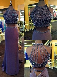 Buy Two Piece Prom Dress/Evening Dress - Crew Neck Sheath Beading Prom Dresses under US$ 172.99 only in SimpleDress.