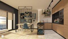 INDUSTRIAL NA MOKOTOWIE - Duża otwarta kuchnia w kształcie litery l w aneksie, styl industrialny - zdjęcie od FAMM DESIGN