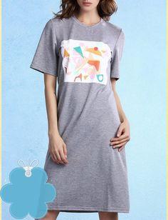 Women's Chic Grey Geometrical Pattern T-Shirt Dress