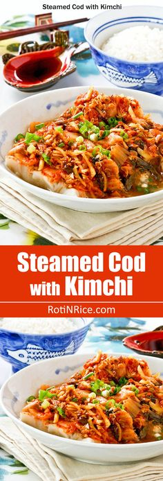 Low Carb Recipes To The Prism Weight Reduction Program Steamed Cod With Kimchi - Healthy, Moist, And Delicious. The Kimchi Combines Beautifully With The Cod To Give It A Slightly Spicy And Tangy Flavor. Fish Recipes, Seafood Recipes, Asian Recipes, Dinner Recipes, Healthy Recipes, Ethnic Recipes, Beer Recipes, Asian Foods, Korean Dishes