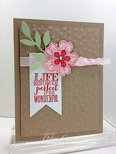 Deb's CAS card features Perfect Pennants, Flower Shop & its matching Pansy punch, Petite Petals & its matching punch, Decorative Dots embossing folder (SAB), & more. All supplies from Stampin' Up!