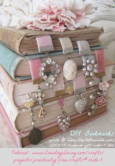 DIY Bookmarks. Free tutorial by jewelry designer, Andrea Singarella via CountryLiving Magazine. Make with ribbons & old costume jewelry. Perfect for when you lose one earring... which I do all the time! ... photo 21 © www.The36thAvenue.com/2011/11/25-handmade-gifts-under-5.html