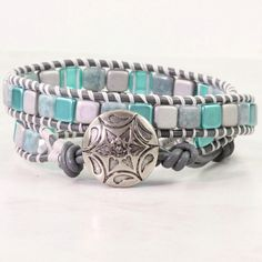 Teal Wrap Bracelet Gray Leather Wrap by AbacusBeadCreations