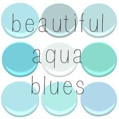 ALL BENJAMIN MOORE - BLUE SEAFOAM, GOSSAMER BLUE, GLACIER BAY, FAIRY TALE BLUE, OCEAN AIR, SHOR HOUSE GREEN, TEAR DROP BLUE, JAMAICAN AQUA, ...