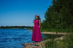 Evening Dresses – Women linen dress long, Fuchsia linen dress – a unique product by ecoemi2012 on DaWanda