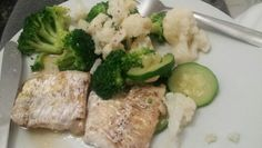 Cod chunks baked in olive oil and broccoli, cauliflower and courgette!