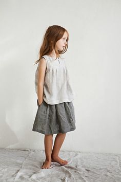 I'm such a sucker for lived-in linen. The Lunch Box Culottes would be darling in a similar fabric. Little Fashion, Baby Girl Fashion, Toddler Fashion, Fashion Kids, Hipster Babies, Moda Casual, Inspiration Mode, Fashion Inspiration, Kid Styles