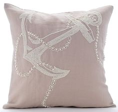 Pearl Anchor - 16x16 Inches Jute & Pearl Beads Embroidered  Mocha Linen Pillow.