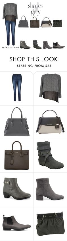 """Gray Plus Size Curvy Outfit With Options"" by jessicasanderstx ❤ liked on Polyvore featuring River Island, Landi, MICHAEL Michael Kors, Yves Saint Laurent, Generation Y, Easy Street, Gianvito Rossi and Hadaki"