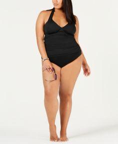 538fcb0b9a11b Lauren Ralph Lauren Plus Size Halter Tankini Top - Black 22W Plus Size  Bikini Bottoms