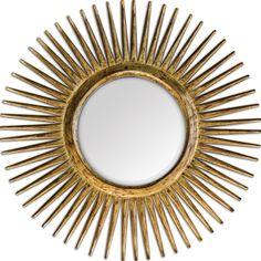 """SUNBURST MIRROR OPTION FOR OVER ROOM&BOARD ENTRY TABLE   Uttermost Destello Gold Starburst Beveled Mirror 39""""DIA."""