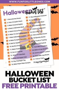 Make each day in October count with this free printable 31 days of Halloween Bucket list of something different to do every day. Halloween Bucket List, Halloween Buckets, Halloween Cans, Halloween Books, 31 Days Of Halloween, Halloween Themes, To Do Lists Printable, Free Printables, Buy Halloween Costumes