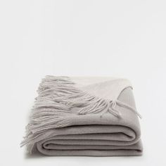 PLAIN BLUISH GREY DOUBLE-FACED BLANKET WITH FRINGE
