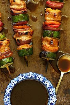 Asian Barbecued Chicken and Veggie Skewers Recipe on Yummly